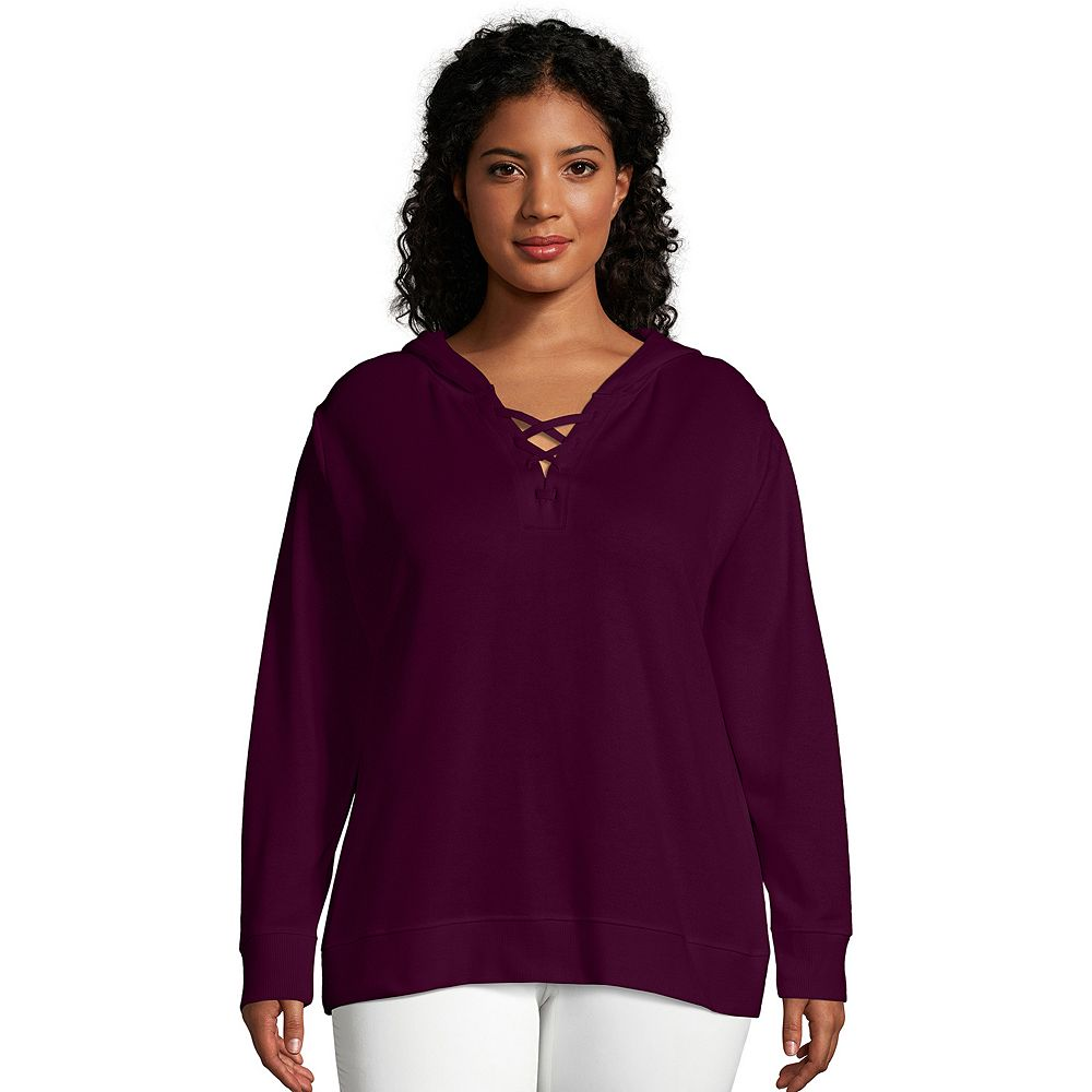 Plus Size Just My Size® Lace-Up French Terry Hoodie