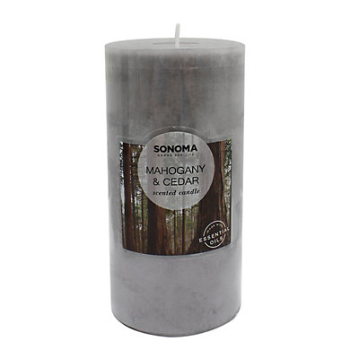 "SONOMA Goods for Life? 3"" x 6"" Mahogany & Cedar Pillar Candle"