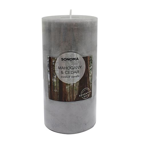 "SONOMA Goods for Life® 3"" x 6"" Mahogany & Cedar Pillar Candle"