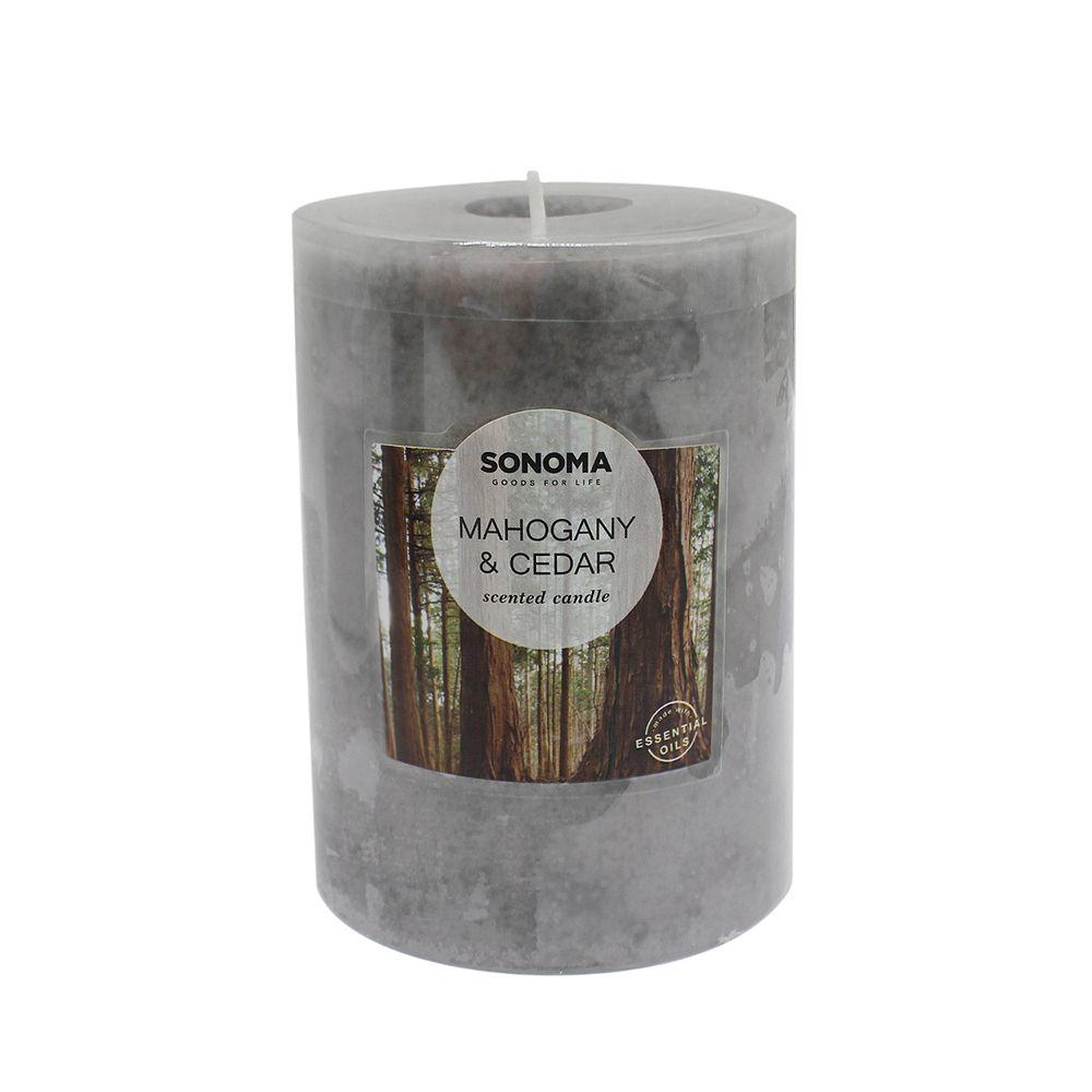 "SONOMA Goods for Life® 3"" x 4"" Mahogany & Cedar Pillar Candle"