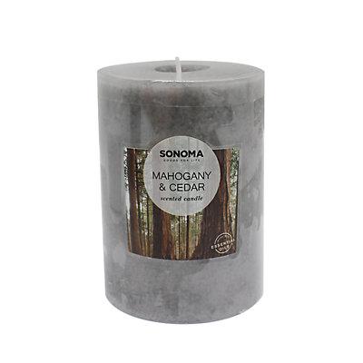 "SONOMA Goods for Life? 3"" x 4"" Mahogany & Cedar Pillar Candle"