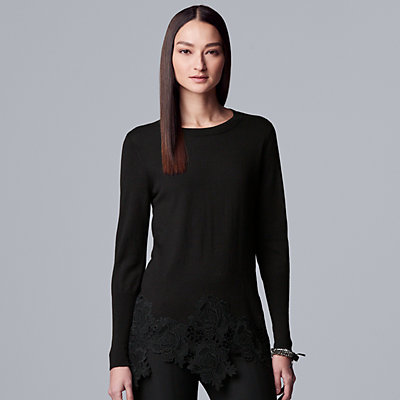 Women's Simply Vera Vera Wang Lace-Hem Sweater