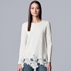 07870107336 Women s Simply Vera Vera Wang Lace-Hem Sweater