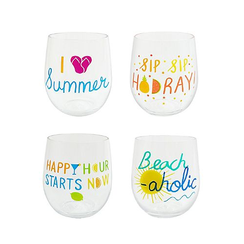 Celebrate Summer Together 4-pc. Summer Sentiments Stemless Wine Glass Set