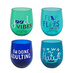 Celebrate Summer Together 4-pc. Coastal Stemless Wine Glass Set