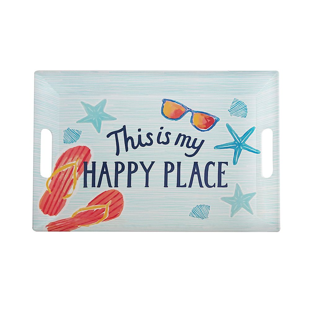 "Celebrate Summer Together Coastal ""Happy Place"" Tray with Handles"