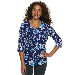 Women's Croft & Barrow® Print Zip-Front Top