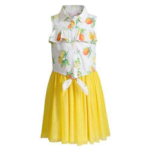 Girls 4-6x Youngland Lemon Mock-Layer Dress