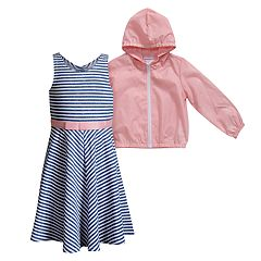 Girls 4-6x Youngland Hooded Rain Jacket & Striped Dress Set