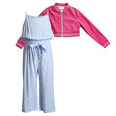 Girls 4-6x Youngland Striped Jumpsuit & Cropped Jacket Set
