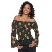 Juniors' Almost Famous Flounce Sleeve Smock Top