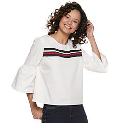 Juniors' Almost Famous Striped Flare Sleeve Top