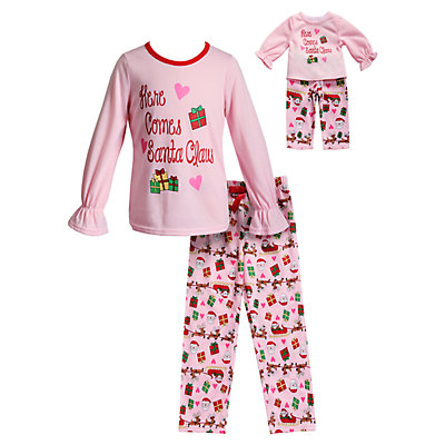 "Girls 4-14 Dollie & Me ""Here Comes Santa Claus"" Christmas Top & Bottoms Pajama Set & Matching Doll Pajamas"