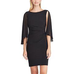 Women's Chaps Sheer Cape Sheath Dress