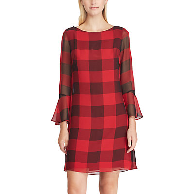 Women's Chaps Checked Bell-Sleeve A-Line Dress
