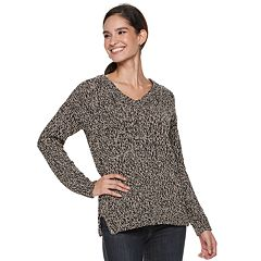 Women's Rock & Republic® Lace-Back V-Neck Sweater