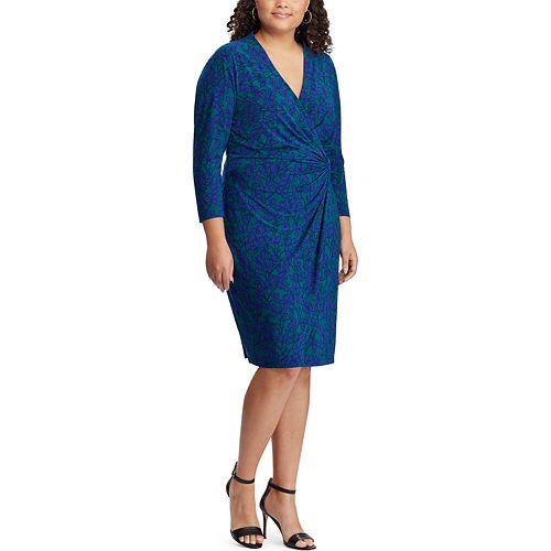 2809d98572 Plus Size Chaps Gathered Faux-Wrap Dress
