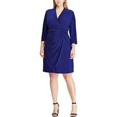 Plus Size Chaps Gathered Faux-Wrap Dress