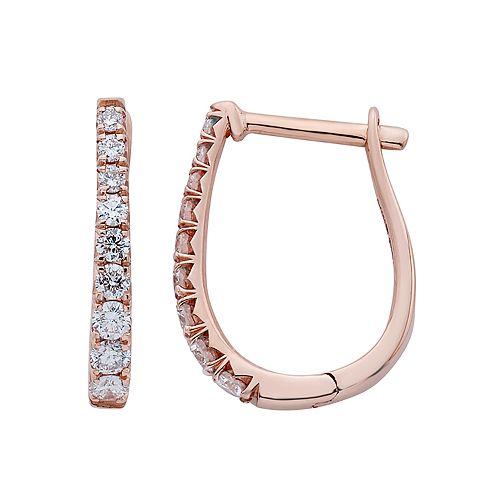 14k Gold 1/4 Carat T.W. IGL Certified Diamond Leverback Hoop Earrings
