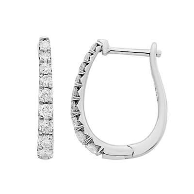 14k Gold 1/2 Carat T.W. IGL Certified Diamond Leverback Hoop Earrings
