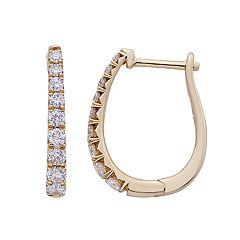 14k Gold 1/2 Carat T.W. IGL Certified Diamond Leverback Hoop Earrings