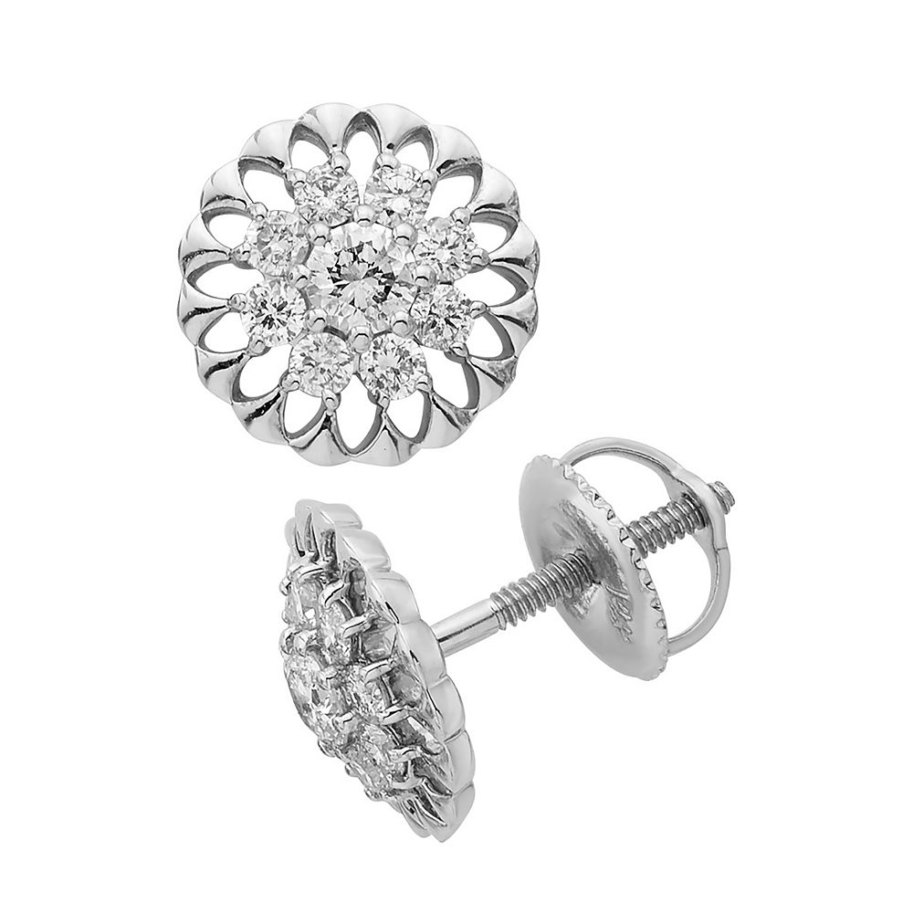 14k Gold 1/2 Carat T.W. IGL Certified Diamond Sunburst Stud Earrings
