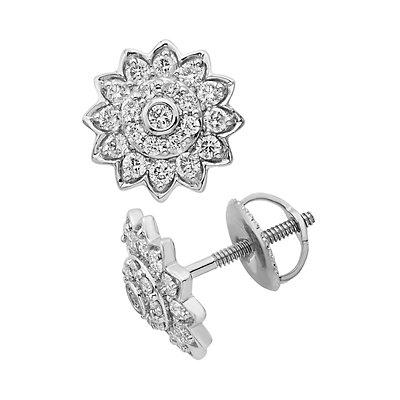14k Gold 1/2 Carat T.W. IGL Certified Diamond Starburst Stud Earrings
