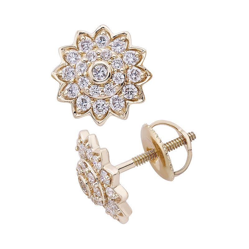 14k Gold 1/2 Carat T.W. IGL Certified Diamond Starburst Stud Earrings, Women's, White