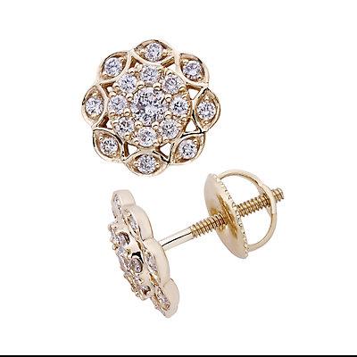 14k Gold 1/2 Carat T.W. IGL Certified Diamond Flower Stud Earrings