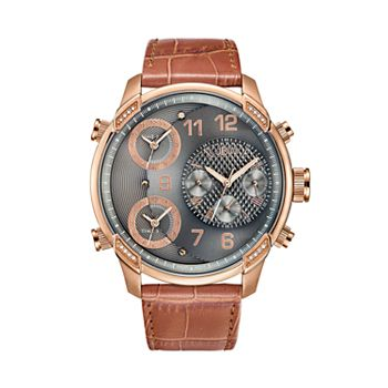 Men's JBW G4 Diamond Accent & Crystal Triple Time Leather Watch - J6248LS