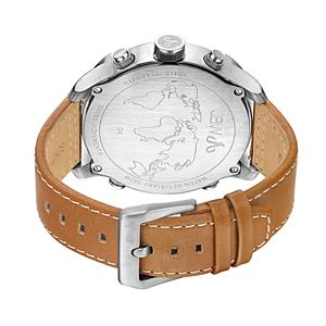Men's JBW G4 Diamond Accent & Crystal Triple Time Leather Watch - J6248LM