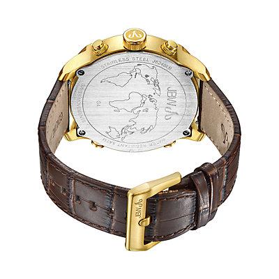 Men's JBW G4 Diamond Accent & Crystal Triple Time Leather Watch - J6248LR