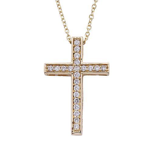 14k Gold 1/6 Carat T.W. IGL Certified Diamond Cross Pendant Necklace