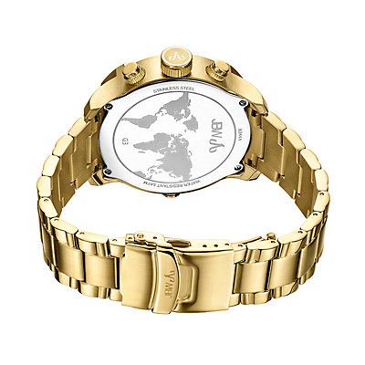 Men's JBW G3 Diamond Accent & Crystal 18k Gold-Plated Dual Time Watch - J6344A