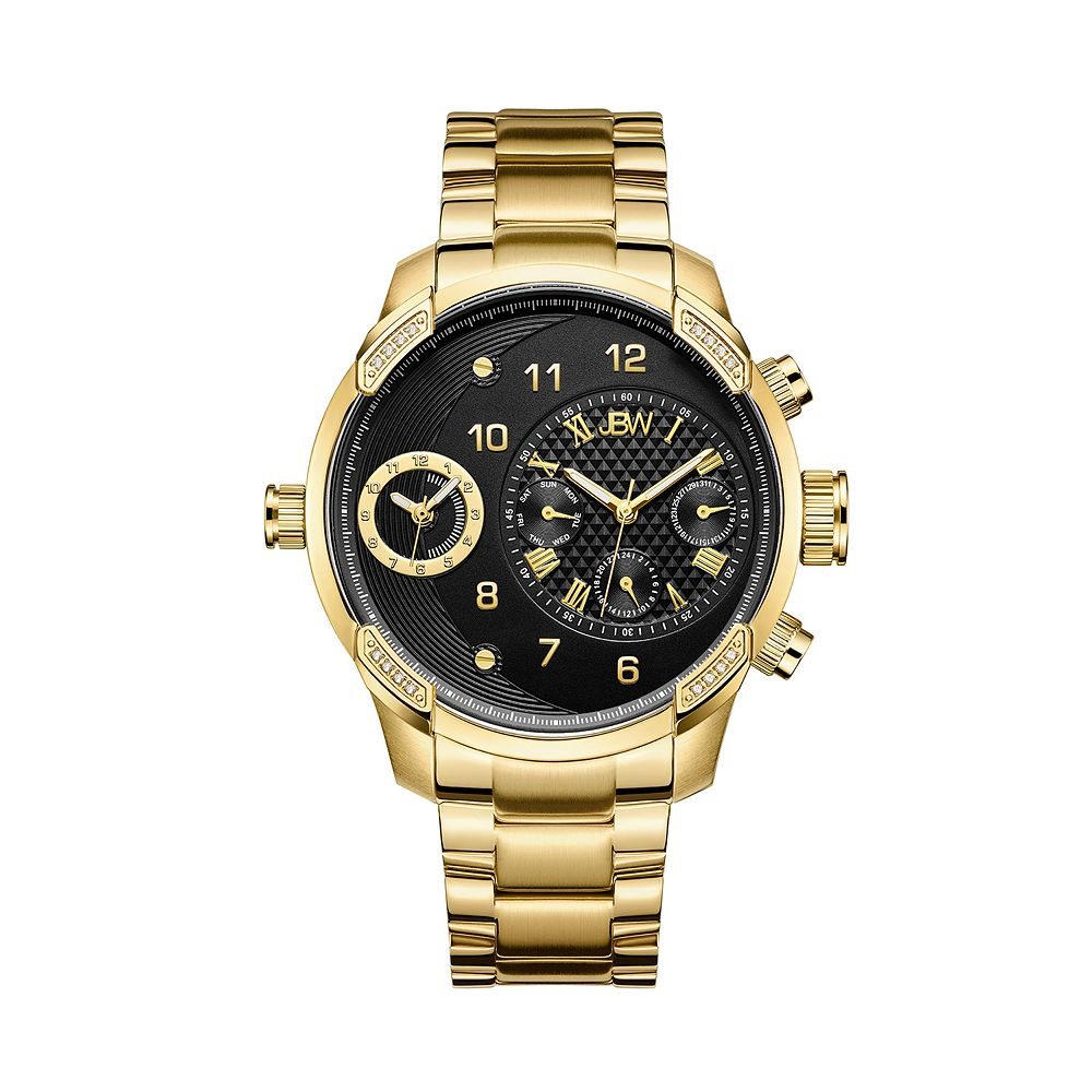 Men's JBW G3 Diamond Accent & Crystal 18k Gold-Plated Dual Time Watch - J6344B