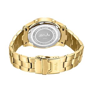 Men's JBW Jet Setter III Diamond Accent & Crystal 18k Gold-Plated Triple Time Watch - J6348A