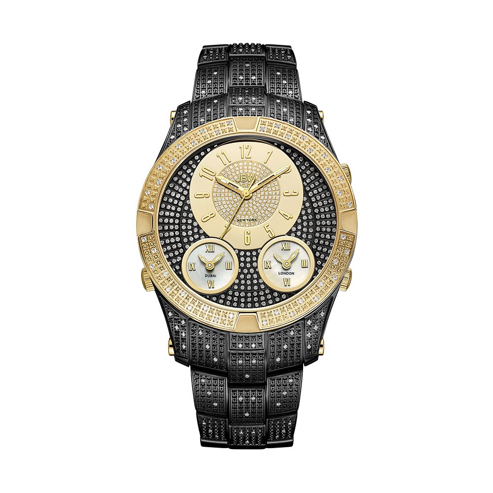 Men's JBW Jet Setter III Diamond Accent & Crystal Two Tone Ion-Plated Triple Time Watch - J6348E