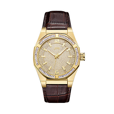 Men's JBW Apollo Diamond Accent & Crystal Leather Watch - J6350B