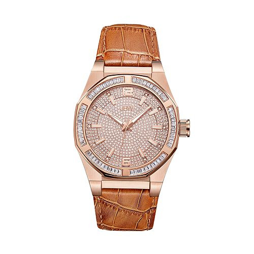Men's JBW Apollo Diamond Accent & Crystal Leather Watch - J6350D
