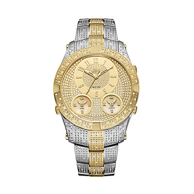 Men's JBW Jet Setter III Diamond Accent & Crystal Two Tone 18k Gold-Plated Triple Time Watch - J6348C