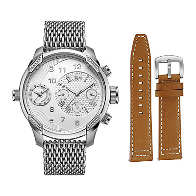 Men's JBW G3 World Traveler Diamond Accent & Crystal Dual Time Watch & Interchangeable Band Set - J6355-SetA