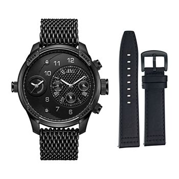Men's JBW G3 World Traveler Diamond Accent & Crystal Dual Time Watch & Interchangeable Band Set - J6355-SetC