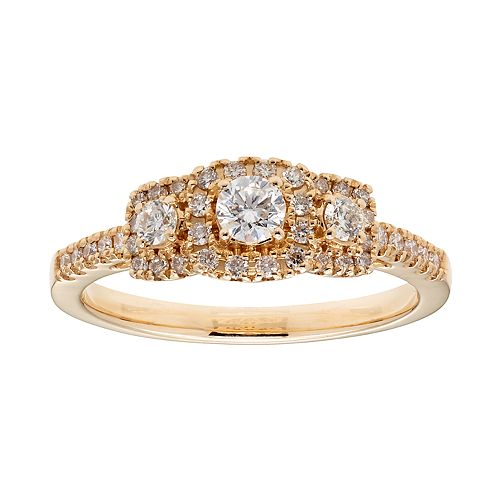 14k Gold 1/2 Carat T.W. IGL Certified Diamond 3-Stone Ring
