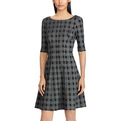 Women's Chaps Checked Fit & Flare Dress