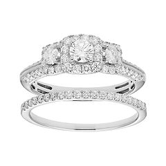 14k Gold 1 Carat T.W. IGL Certified Diamond 3-Stone Engagement Ring Set