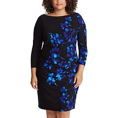 f6b061cc99f Plus Size Chaps Ruched Sheath Dress. Blue Floral