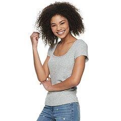 Juniors' Pink Republic Short Sleeve Squared Neck Knit Top