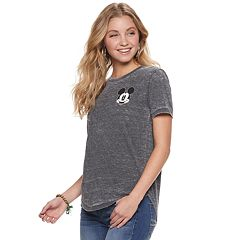 Juniors' Disney's Mickey Mouse Burnout Graphic Tee