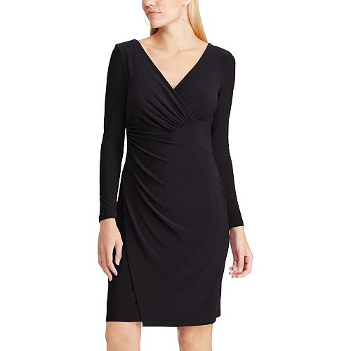 Women's Chaps Shirred Faux-Wrap Dress