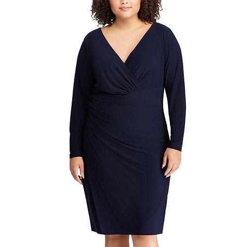 6e72f66b79 Plus Size Chaps Faux-Wrap Dress